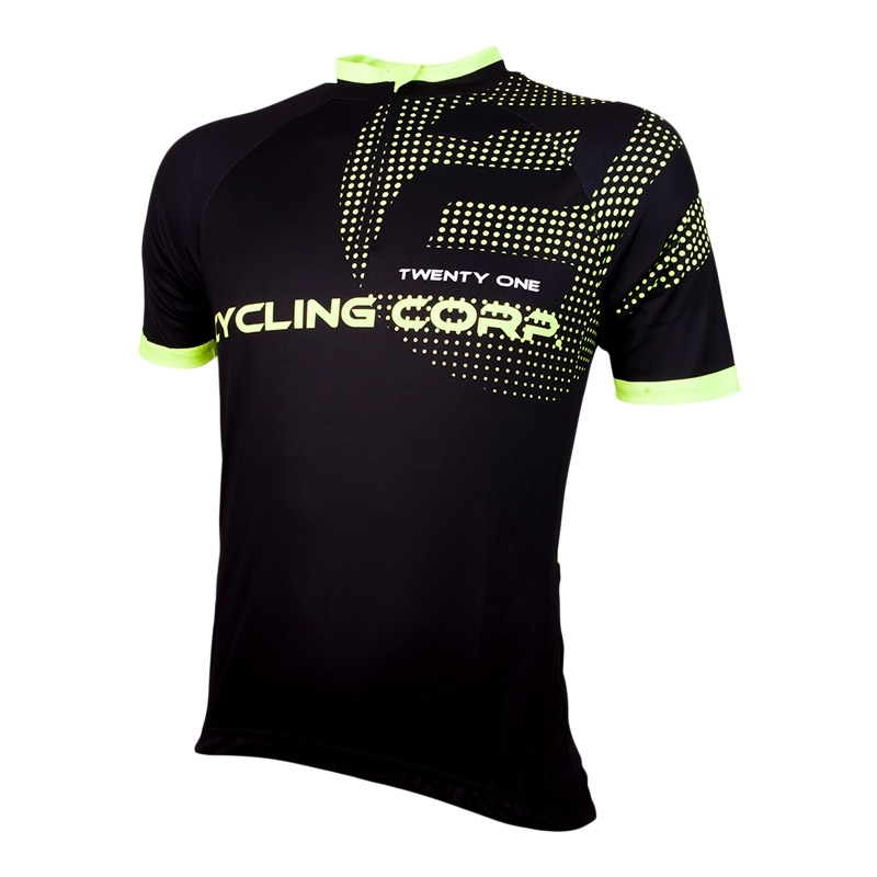 | Wielershirt 21Virages Cycling Corp Zwart Fluo Geel