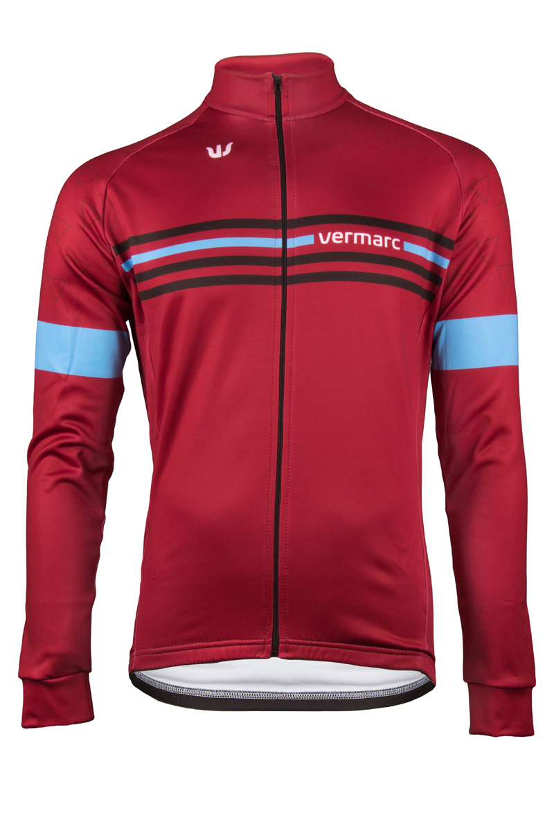 | Vermarc Fietsshirt lange mouwen Heren Bordeaux rood Blauw / ATTACO Long Sleeves NEW - Fuchia/Blue
