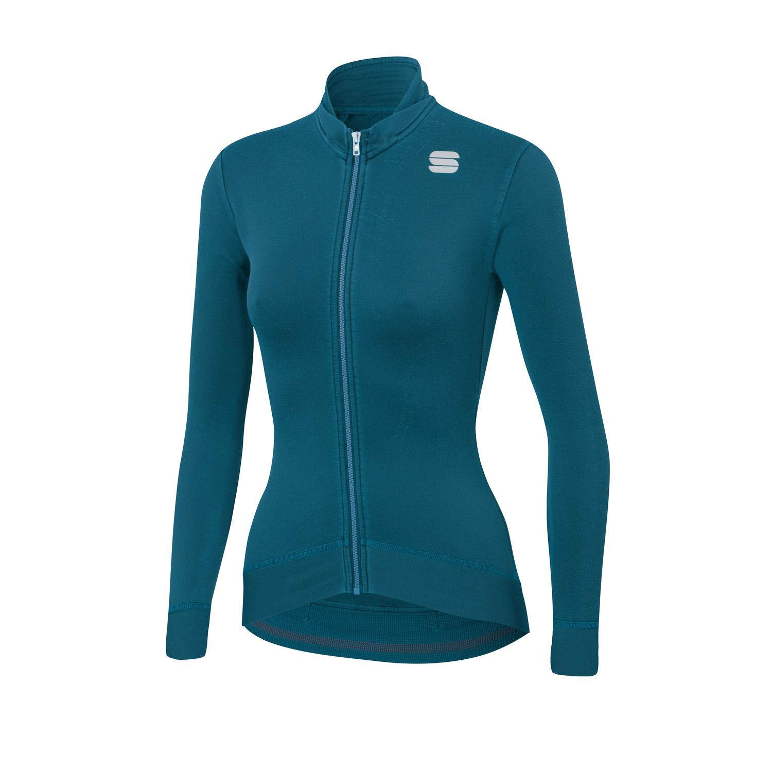 Sportful Fietsshirt lange mouwen Dames Blauw - MONOCROM WOMAN THERMAL JERSEY BLUE CORSAIR