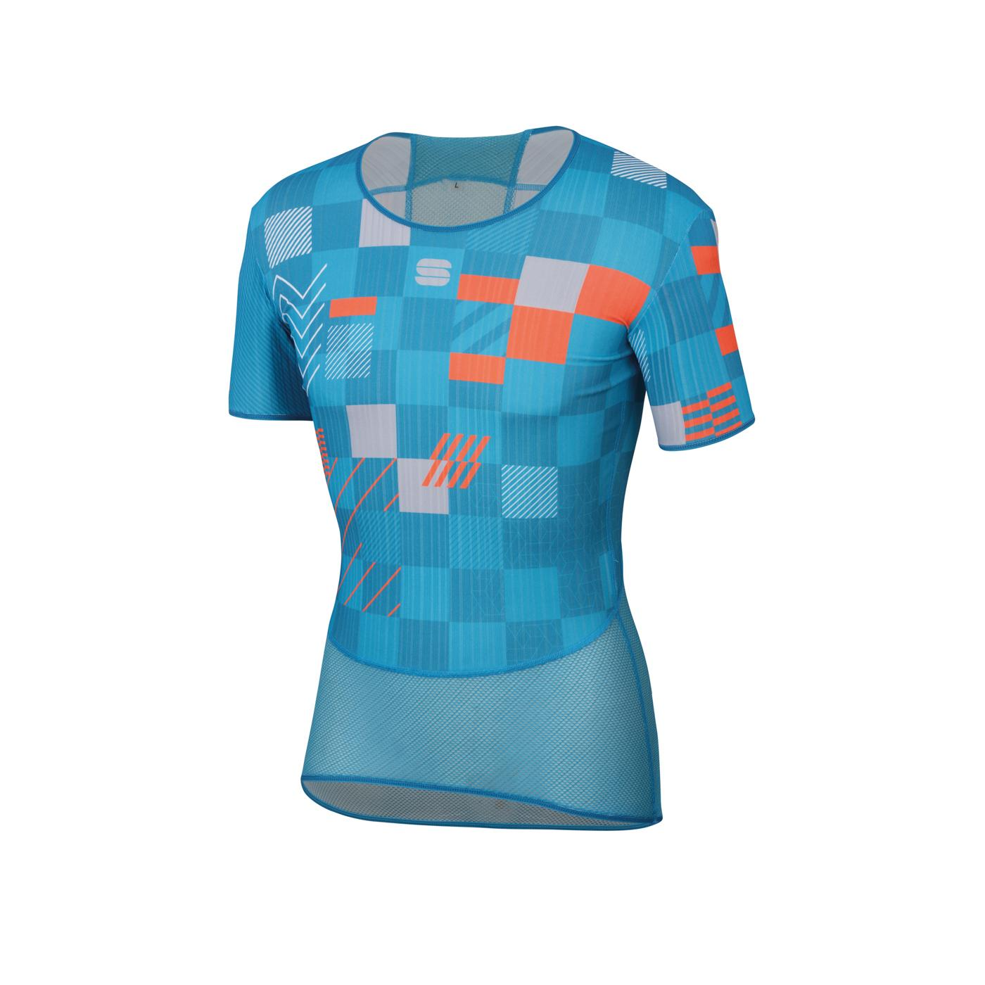 Sportful Ondershirt Korte mouwen voor Heren Blauw Oranje - SF Pro Baselayer Tee-Blue A Methyl Orange
