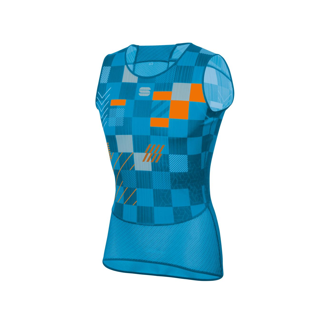 Sportful Ondershirt Mouwloos voor Heren Blauw Oranje - SF Pro Baselayer Sleeveless.-Blue A Methyl Orange