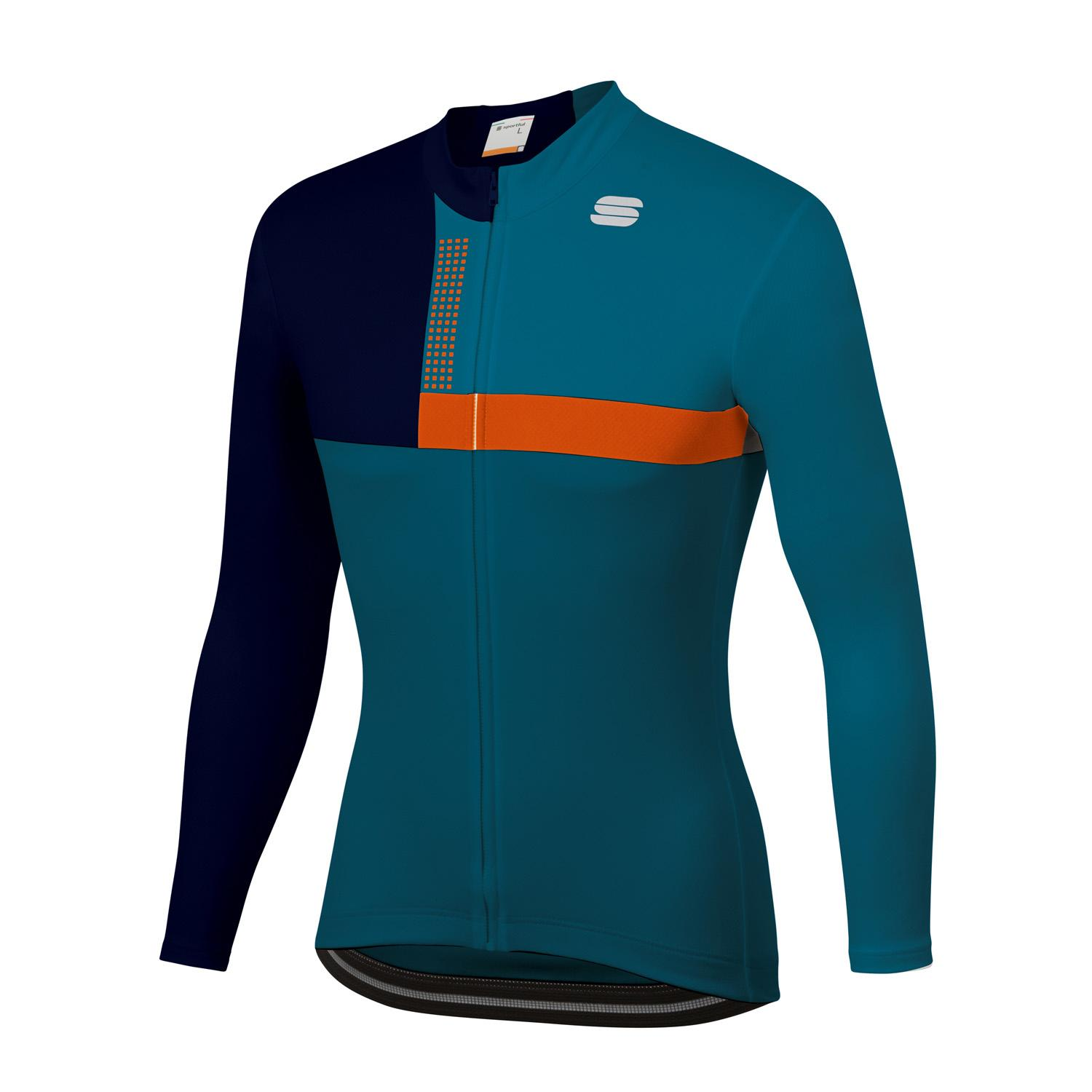 Sportful Fietsshirt lange mouwen Heren Blauw Oranje - BOLD THERMAL JERSEY BLUE CORSAIR ORANGE SDR