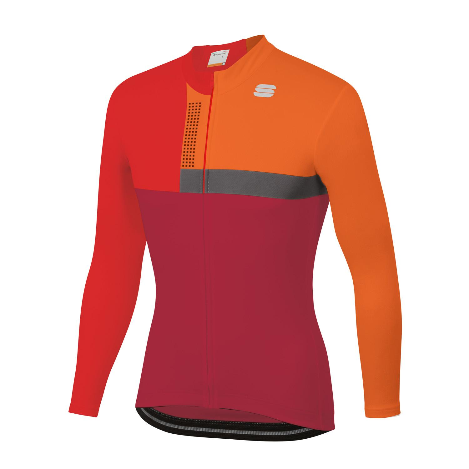 Sportful Fietsshirt lange mouwen Heren Rood Anthraciet - BOLD THERMAL JERSEY RED RUMBA ANTHRACITE