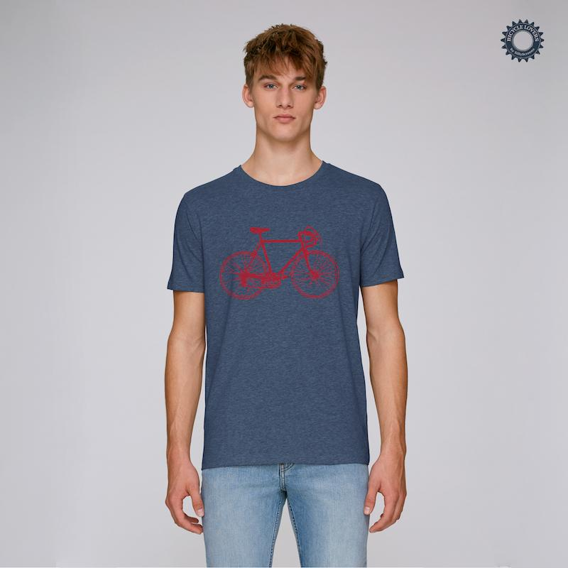 Afbeelding SillyScreens Casual wieler T-shirt heren medium fit Blauw  / RACEFIETS, Heren wieler T-shirt, Dark Heather Blue