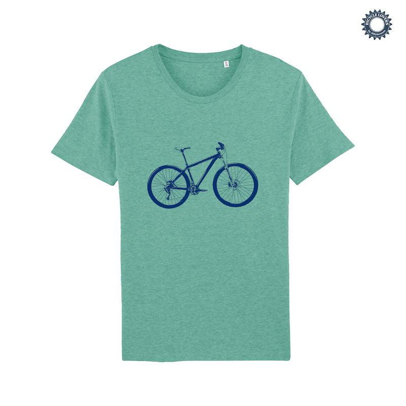 Afbeelding SillyScreens Casual wieler T-shirt heren medium fit Groen  / MOUNTAINBIKE, Heren wieler T-shirt, Mid Heather Green