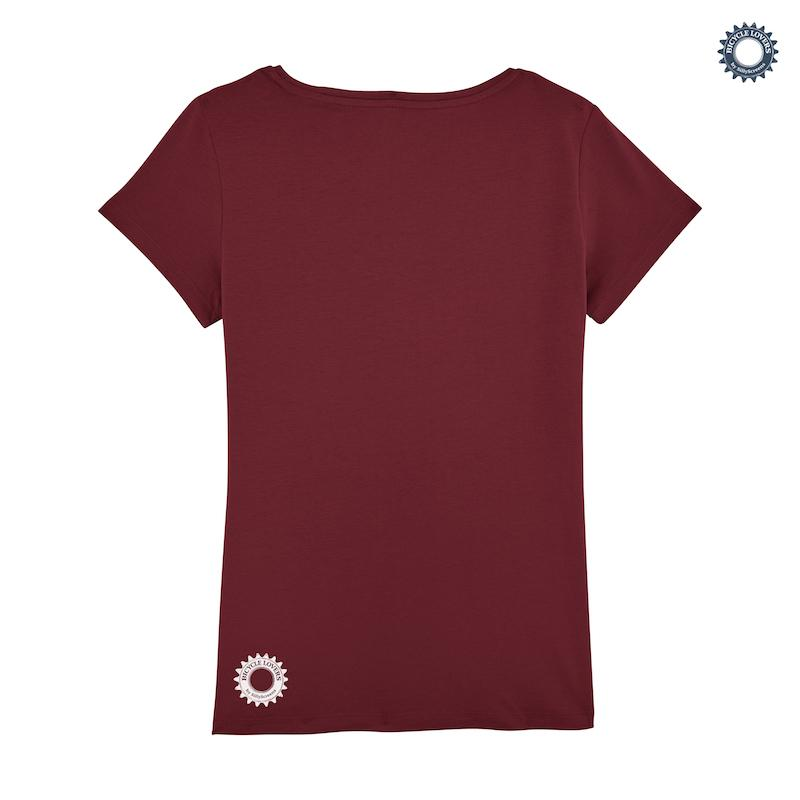 Afbeelding SillyScreens Casual wieler T-shirt Dames medium fit Bordeaux  / CYCLIST, Dames wieler T-shirt, Burgundy