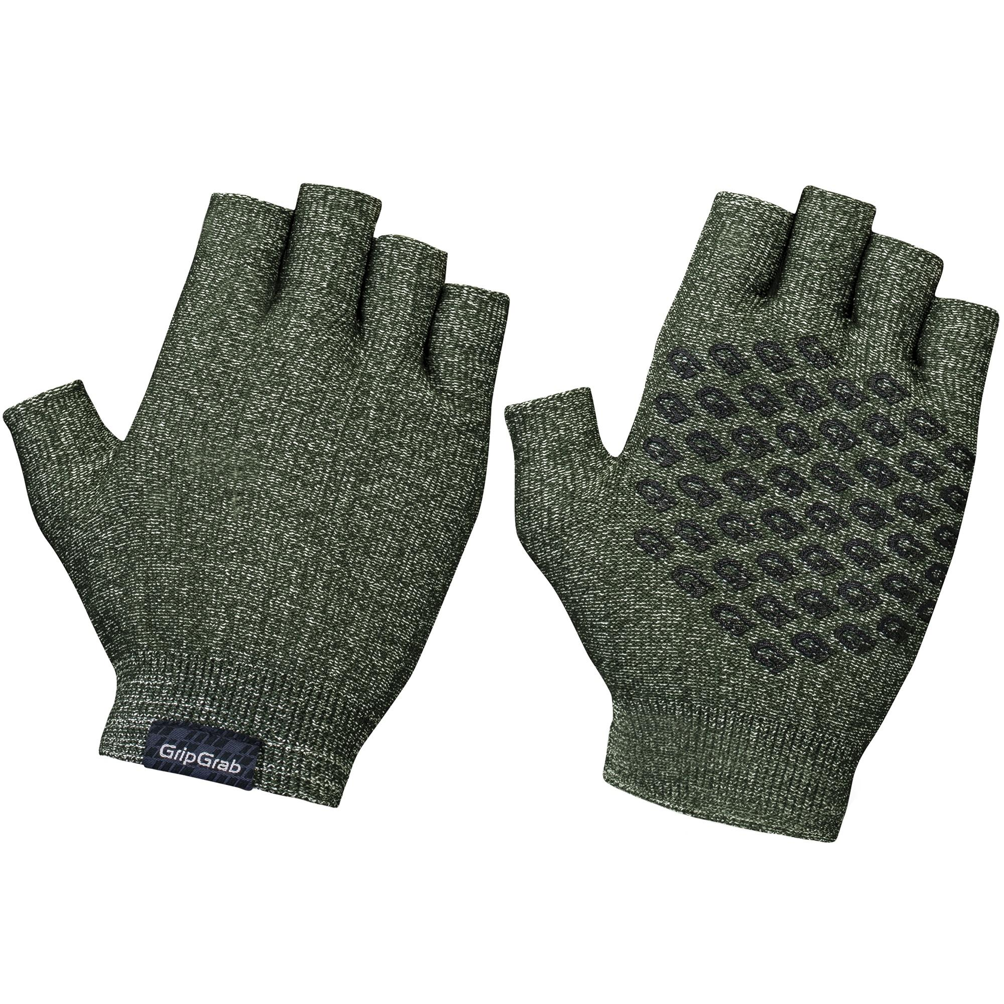 Afbeelding GripGrab Fietshandschoenen Zomer Unisex Olijfgroen - Freedom Knitted Short Finger Cycling Glove Olive