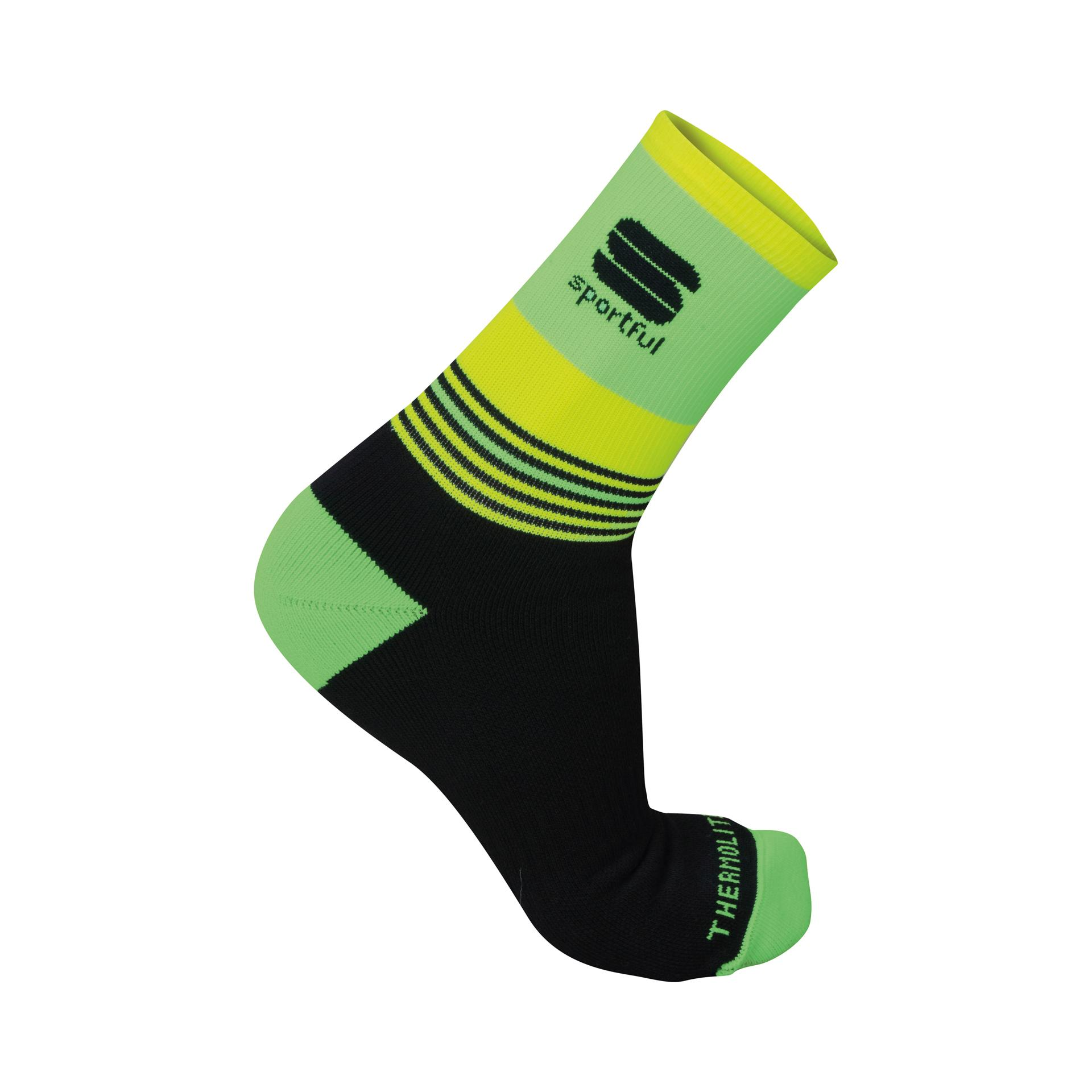 Sportful Fietssokken winter Heren Zwart Fluo / SF Arctic 13 Sock-Black/Green Fluo