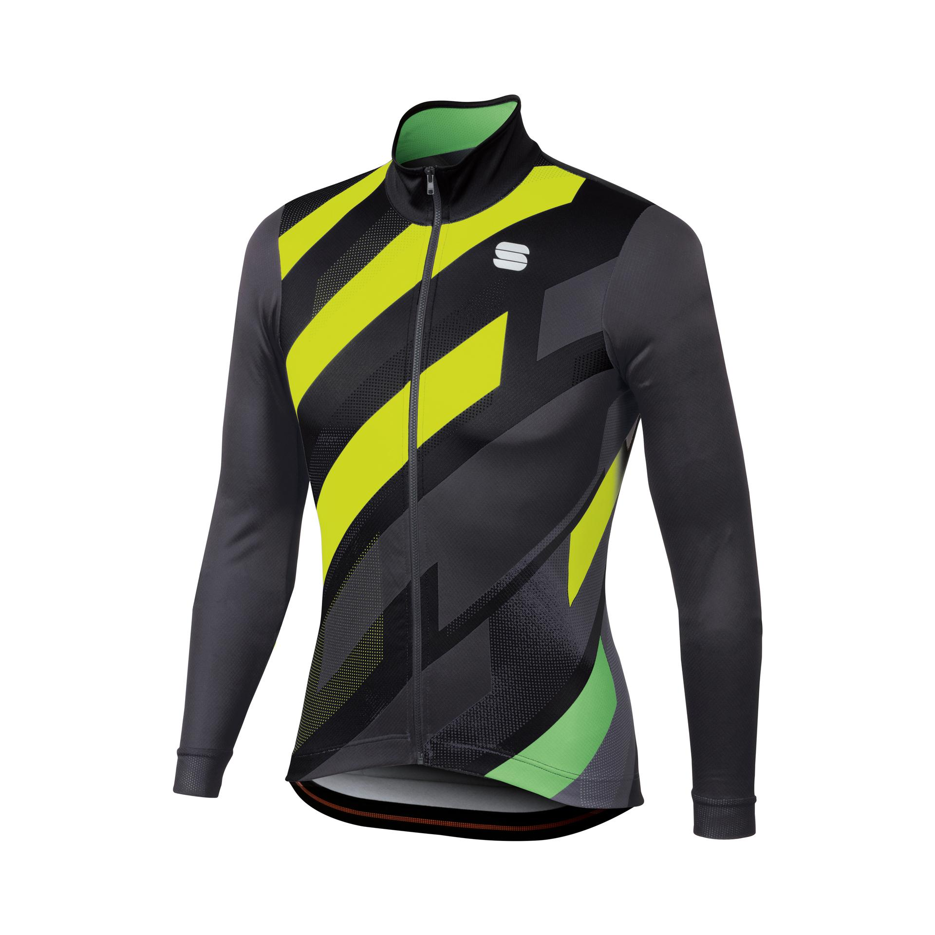 | Sportful Fietsshirt lange mouwen Heren Zwart Grijs / SF Volt Thermal Jersey-Black/Anthr/Yellow Fl