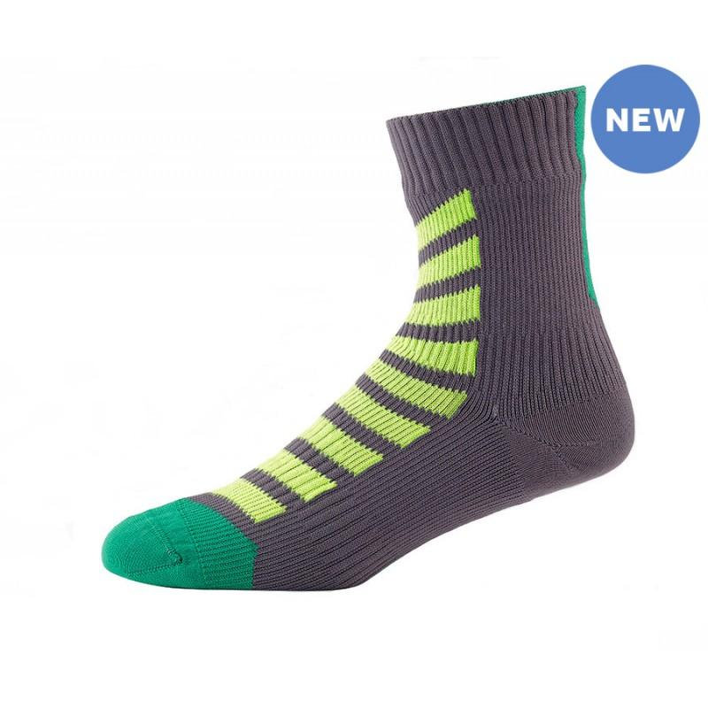 Afbeelding SealSkinz MTB Ankle with Hydrostop / Fietssok Antraciet Lime
