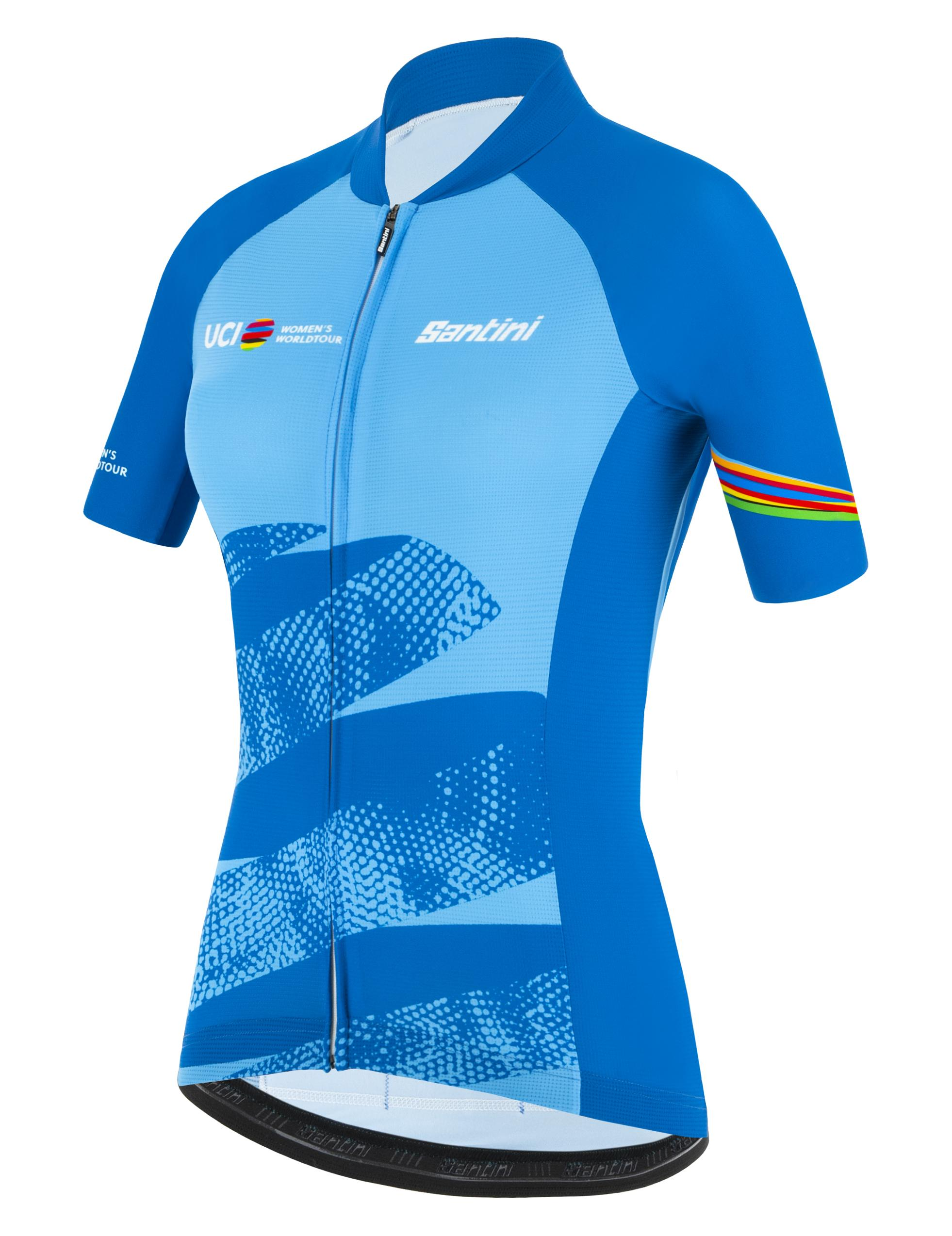 Santini Fietsshirt Korte mouwen Blauw Dames - Official Uci Wwt Leader And Best Young Rider Jersey For Wome Light Blue