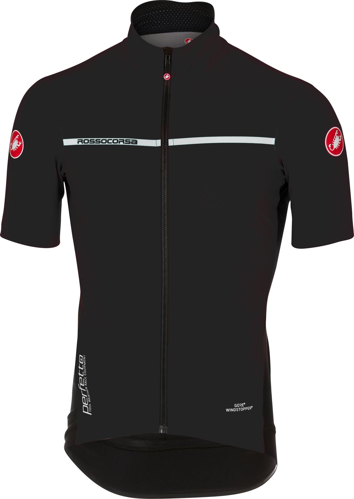 Castelli Fietsshirt korte mouwen waterafstotend Heren Zwart Wit / CA Perfetto Light 2 Light Black