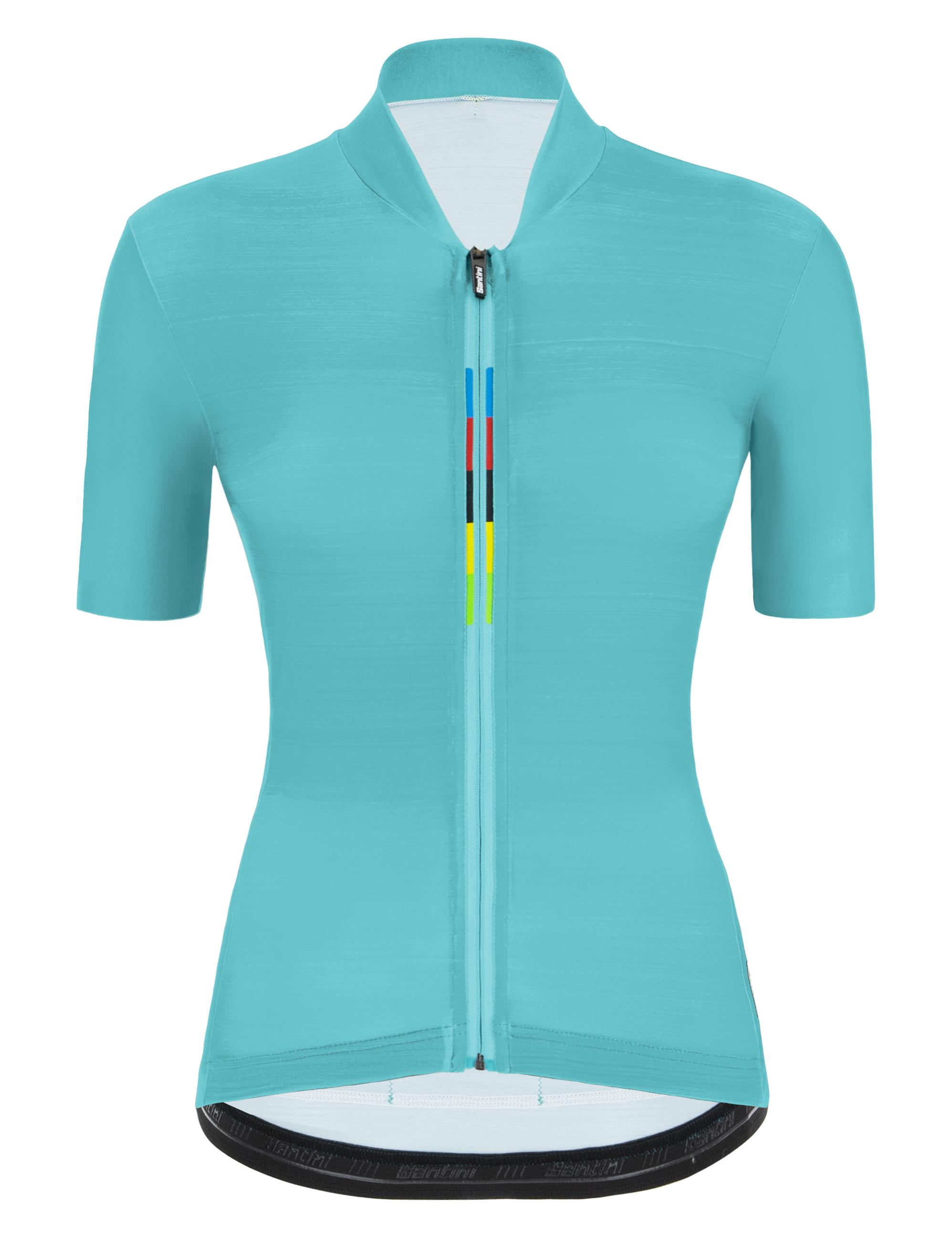 Santini Fietsshirt Korte mouwen Blauw Heren - Official Uci Rainbow S/S Jersey For Women Acqua Blue