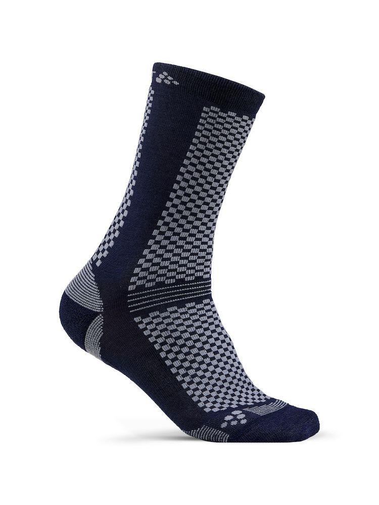 Craft Fietssokken Winter Unisex Blauw Grijs - WARM MID 2-PACK SOCK BEAT GRANITE