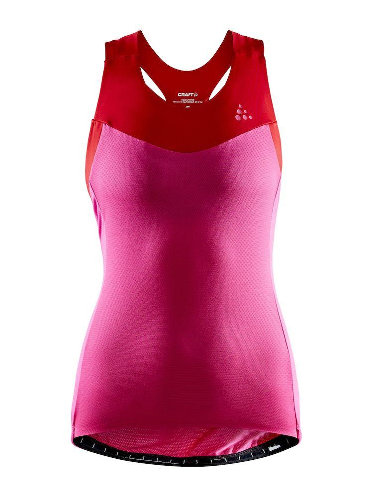 Craft Fietsshirt Mouwloos Dames Roze Rood - STRIDE SINGLET W FAME/BRIGHT RED
