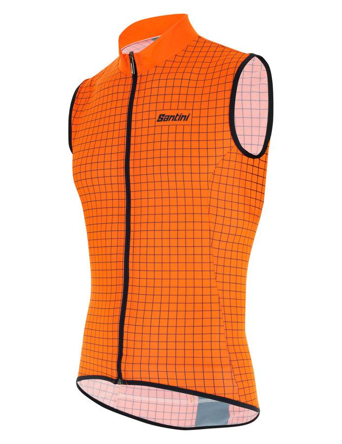 Santini Windstopper mouwloos Fluo Oranje Heren - Nebula Windproof And Rain Resistant Skin Vest Orange Fluo