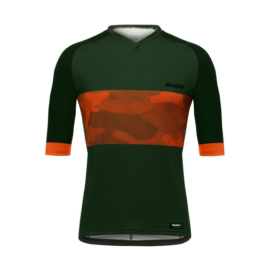 Santini Fietsshirt Korte mouwen Groen Heren - Bosco MTB Jersey with Pockets Military Green
