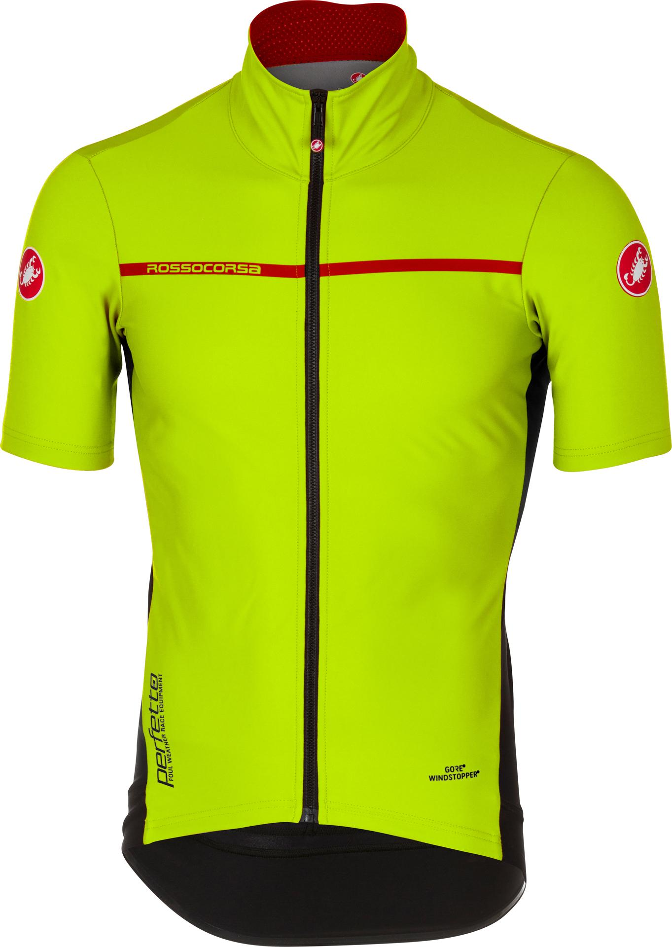 Castelli Fietsshirt korte mouwen waterafstotend Heren Fluo Rood / CA Perfetto Light 2 Yellow Fluo