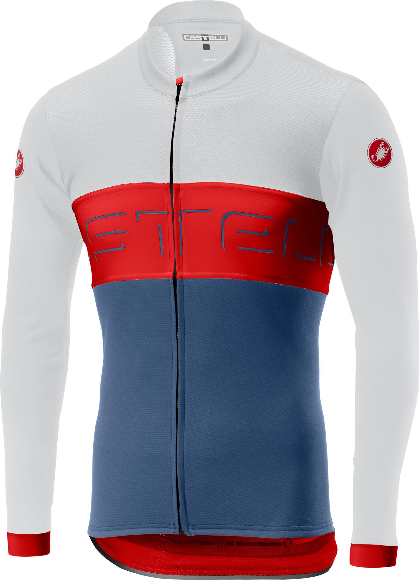 Castelli Fietsshirt lange mouwen Heren Ivoor Rood - CA Prologo VI Long Sleeve Fz-Ivo/Red/Light/S Blue