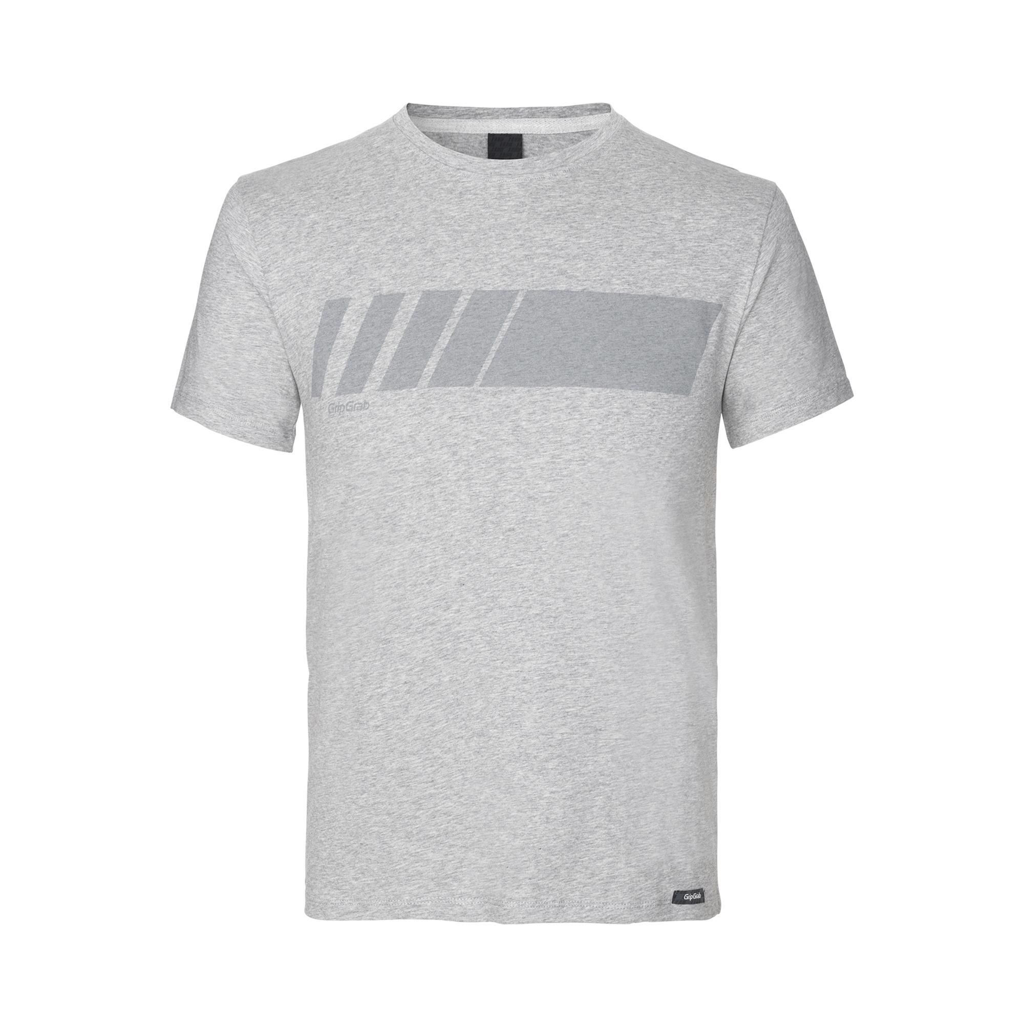 GripGrab Casual T-Shirt Unisex Grijs - Racing Stripe Short Sleeve Organic Cotton T-Shirt Grey