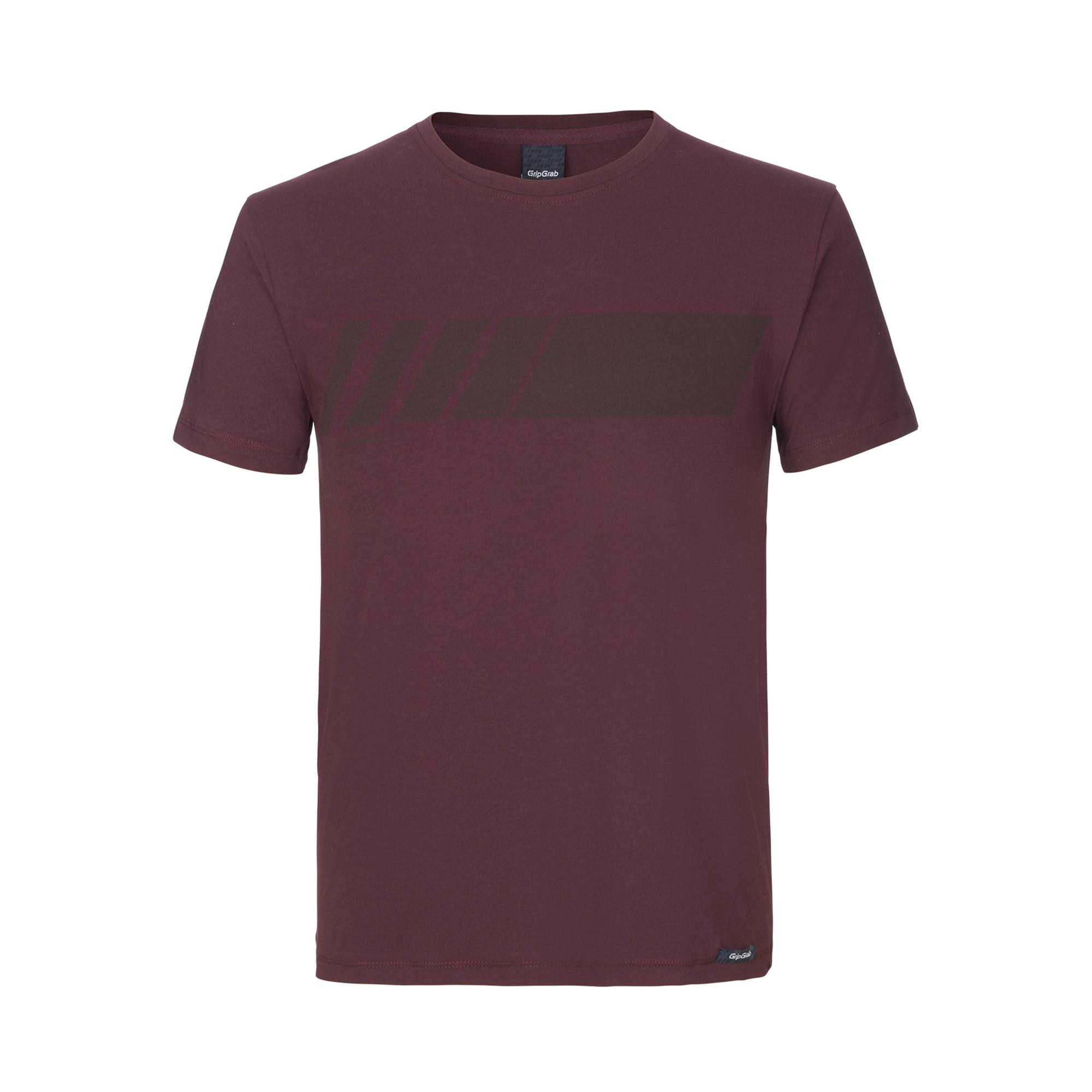 GripGrab Casual T-Shirt Unisex Rood - Racing Stripe Short Sleeve Organic Cotton T-Shirt Dark Red