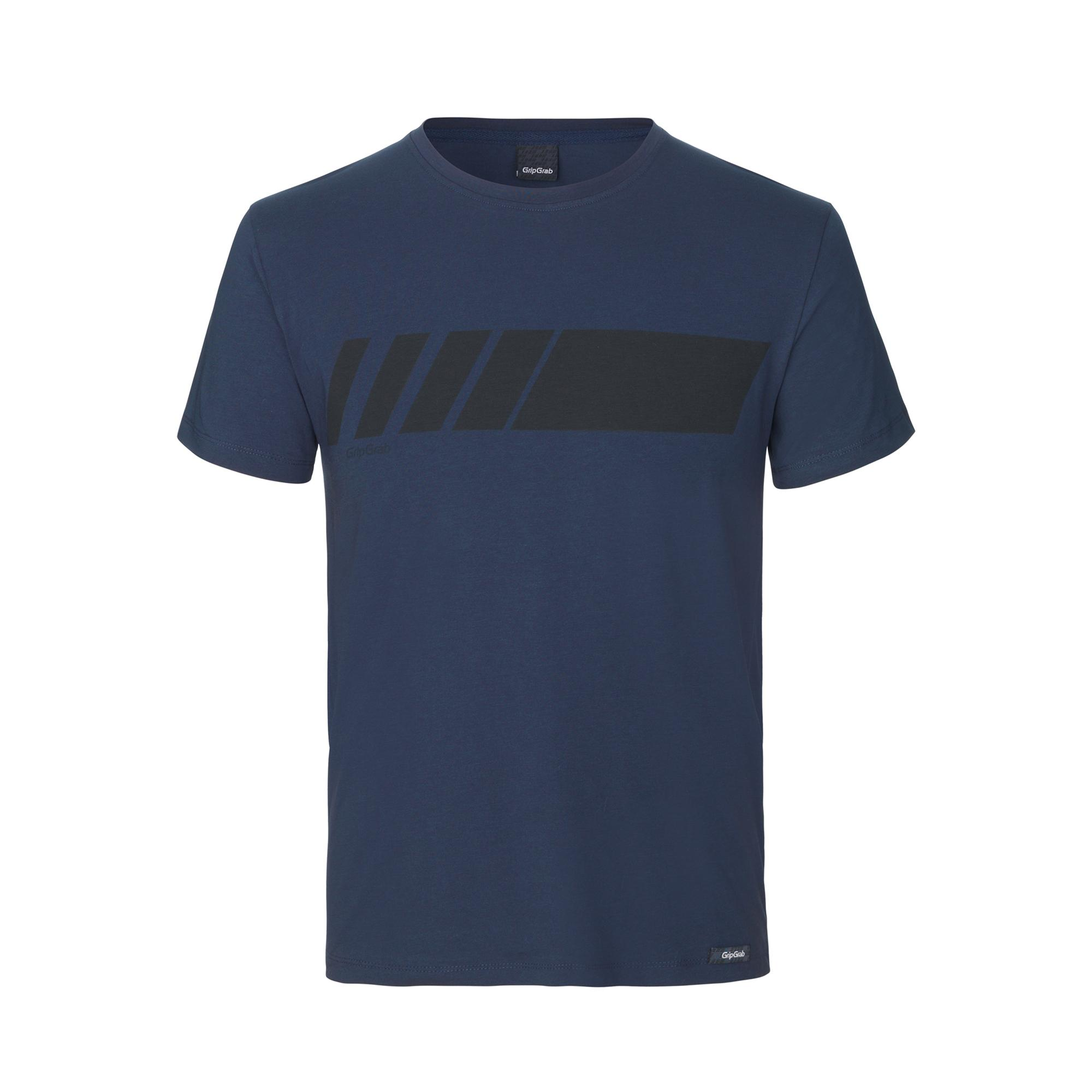 GripGrab Casual T-Shirt Unisex Blauw - Racing Stripe Short Sleeve Organic Cotton T-Shirt Navy