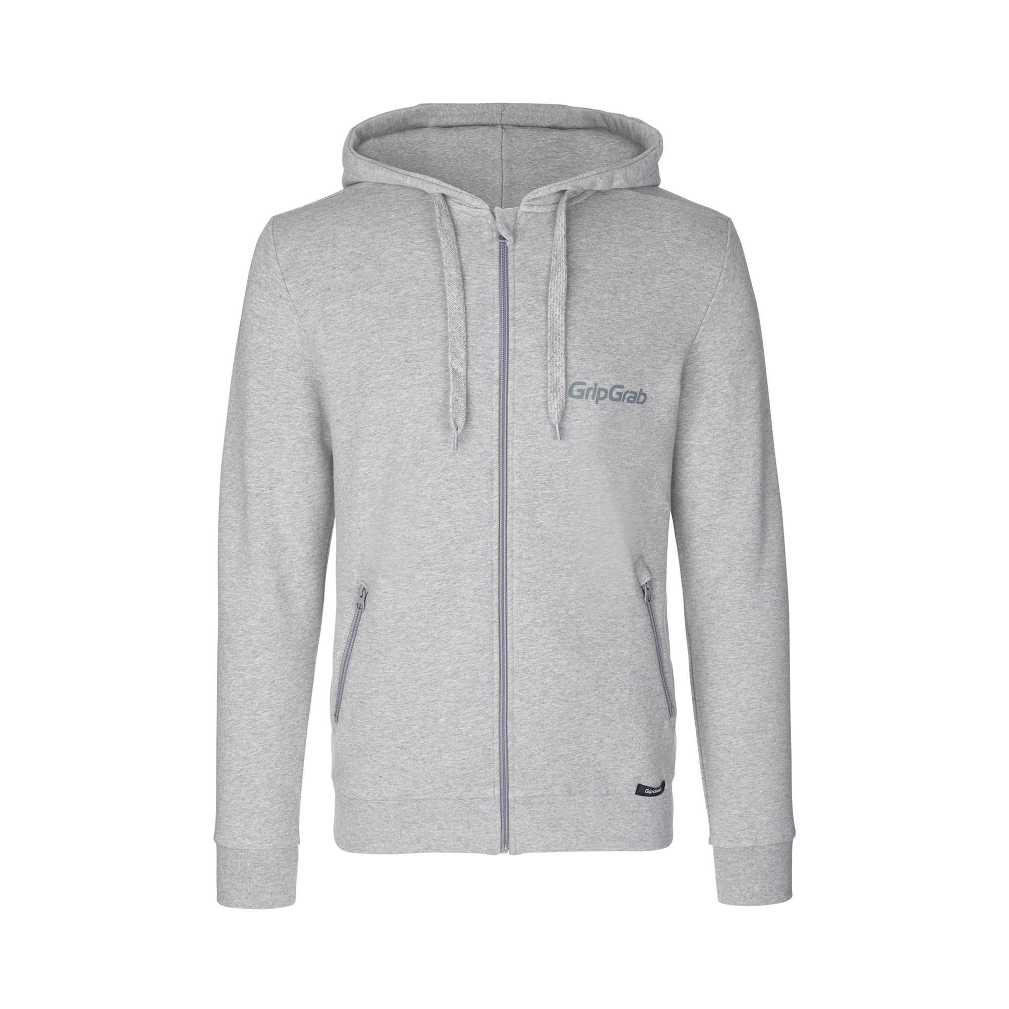 GripGrab Casual Vest Unisex Grijs - Icon Long Sleeve Organic Cotton Zipper Hoodie Grey