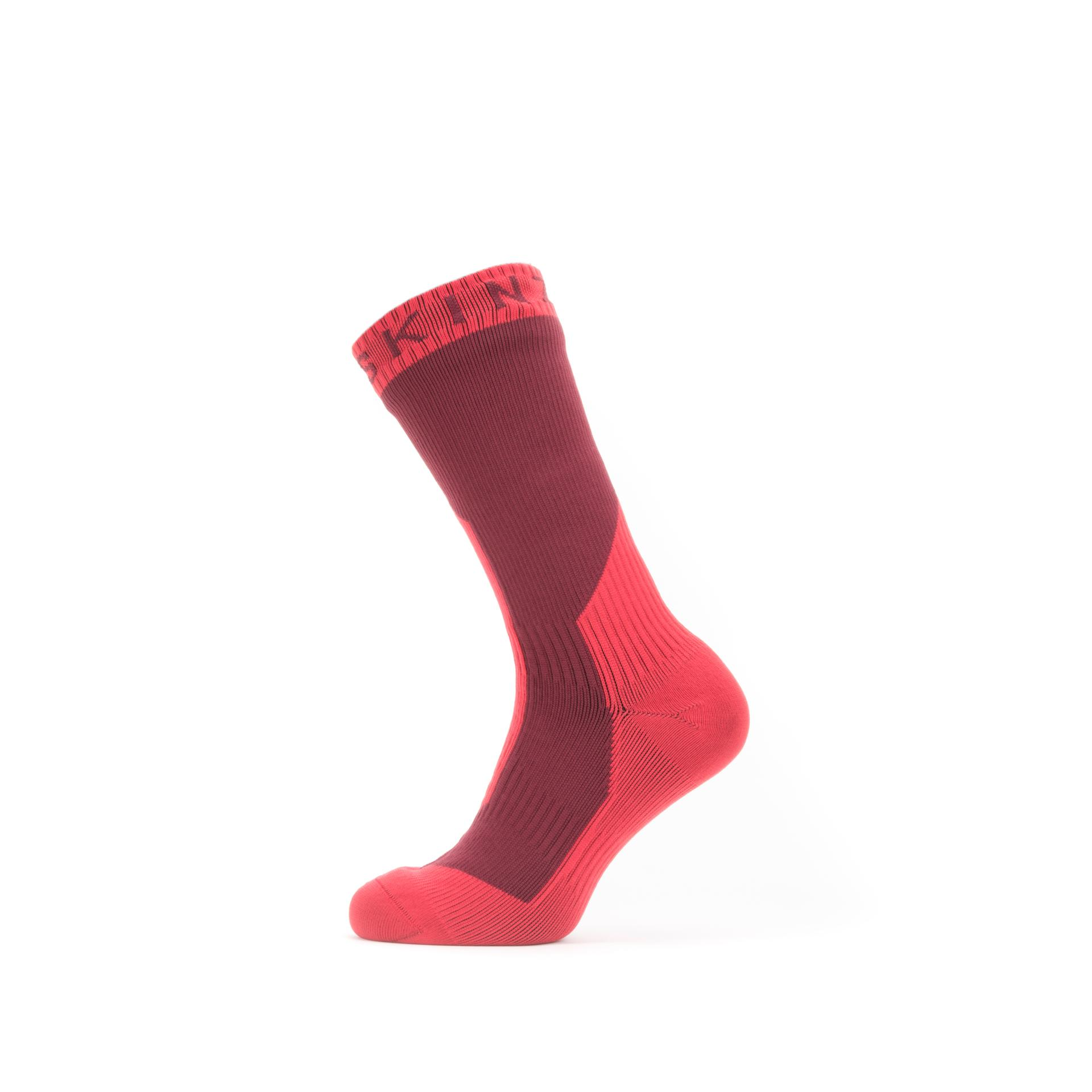 Afbeelding Sealskinz Fietssokken waterdicht voor Heren Rood  / Waterproof Extreme Cold Weather Mid Length Sock Red