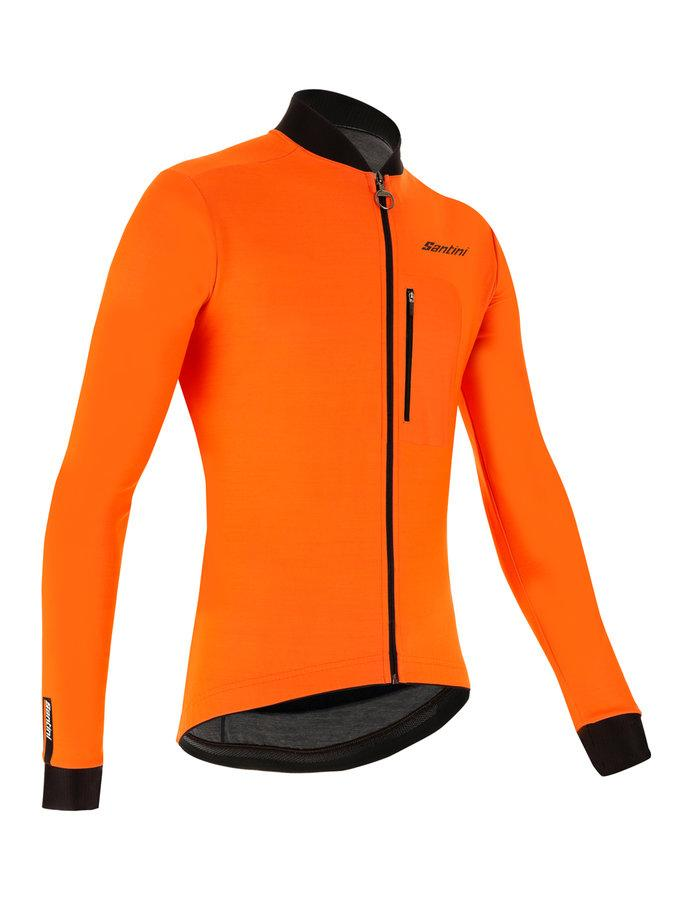 Santini Fietsjack lange mouwen Fluo Oranje Heren - Adapt Jacket Mid Weight Orange Fluo