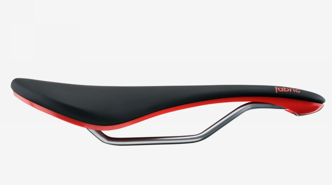 Fabric Fietszadel met Carbon rail 242 gram Zwart-Rood / Line Elite Shallow Saddle BKR 142mm