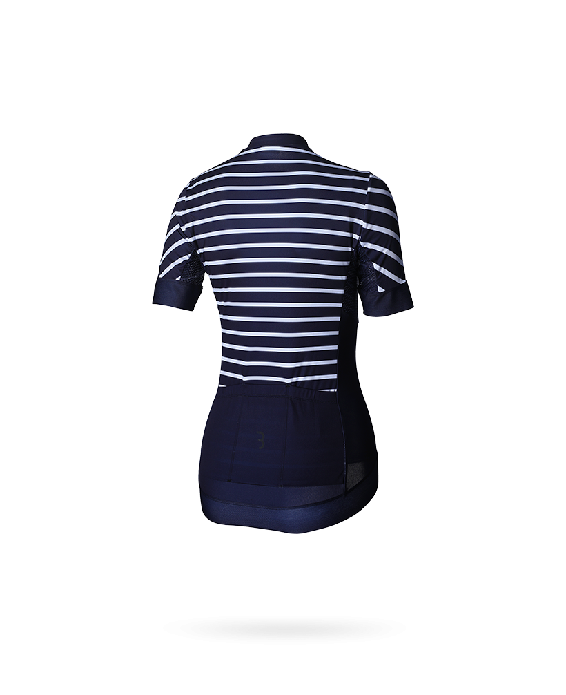 | BBB fietsshirt dames blauw wit / Performance Womens Omnium SS Jersey Stripes Navy/White