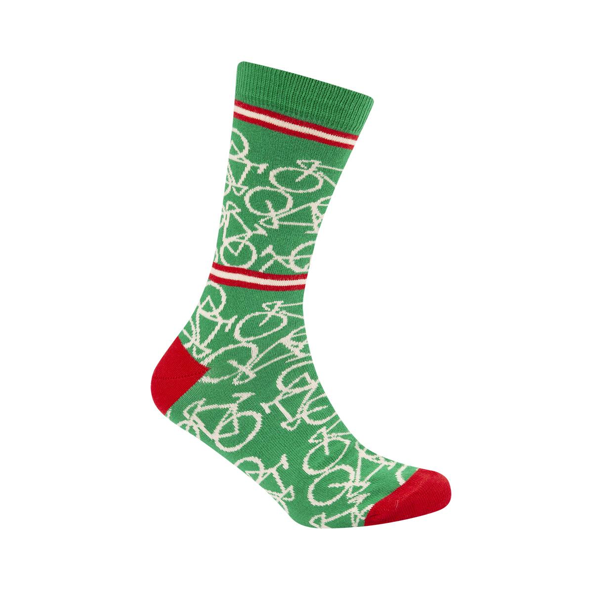 | Le Patron Casual sokken Groen Ecru / Bicycle socks italian green
