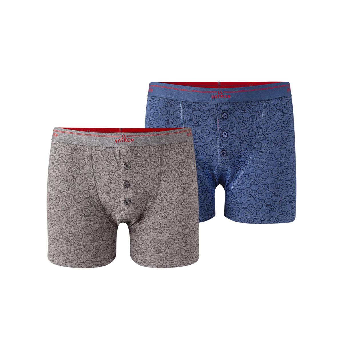 Le Patron underwear Grijs Blauw / Boxers Pieces de bicyclette Blue/Grey S