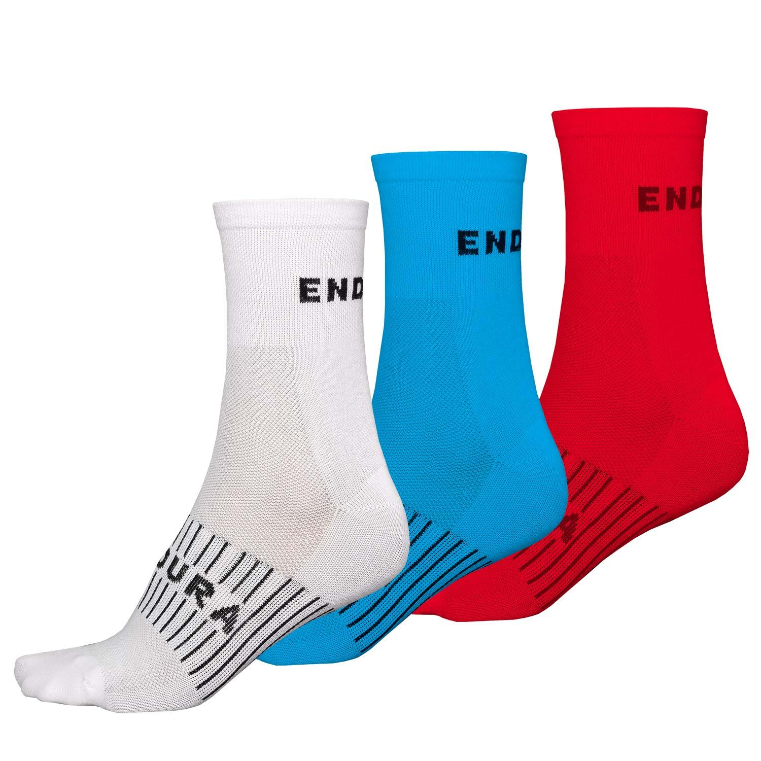 | Endura Fietssokken zomer 3-pack Heren Wit + Blauw + Rood - Coolmax Race Sock (Triple Pack) White Blue Red