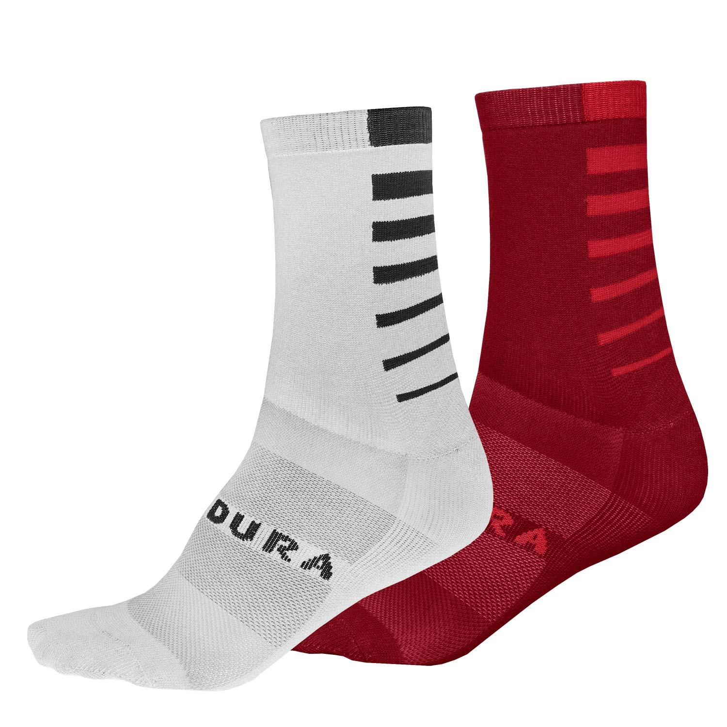 Endura Fietssokken zomer 2-pack Heren Rood en Wit/Zwart - Coolmax Stripe Socks (Twin-Pack) Rust Red en White Black
