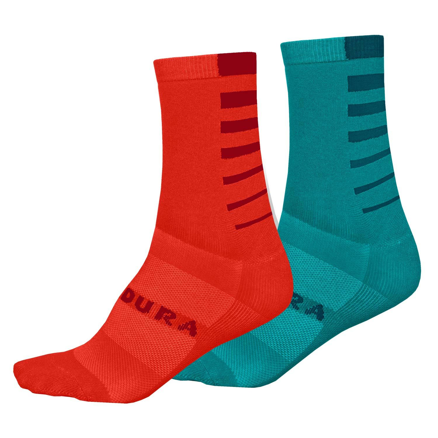 Endura Fietssokken zomer 2 pack Dames Blauw en Roze - Women's Coolmax Stripe Socks (Twin Pack) Pacific Blue en Sunset Pink