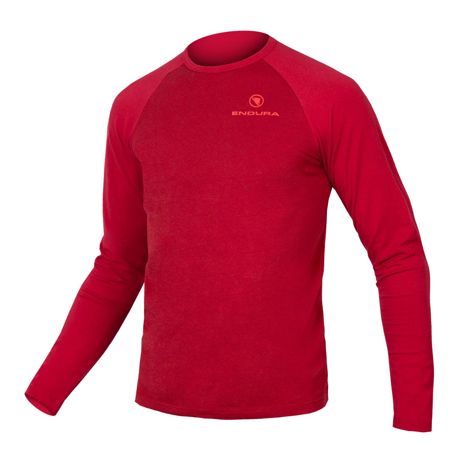 Endura Casual Fietskleding Heren Rood - One Clan Raglan L/S Roest Rood
