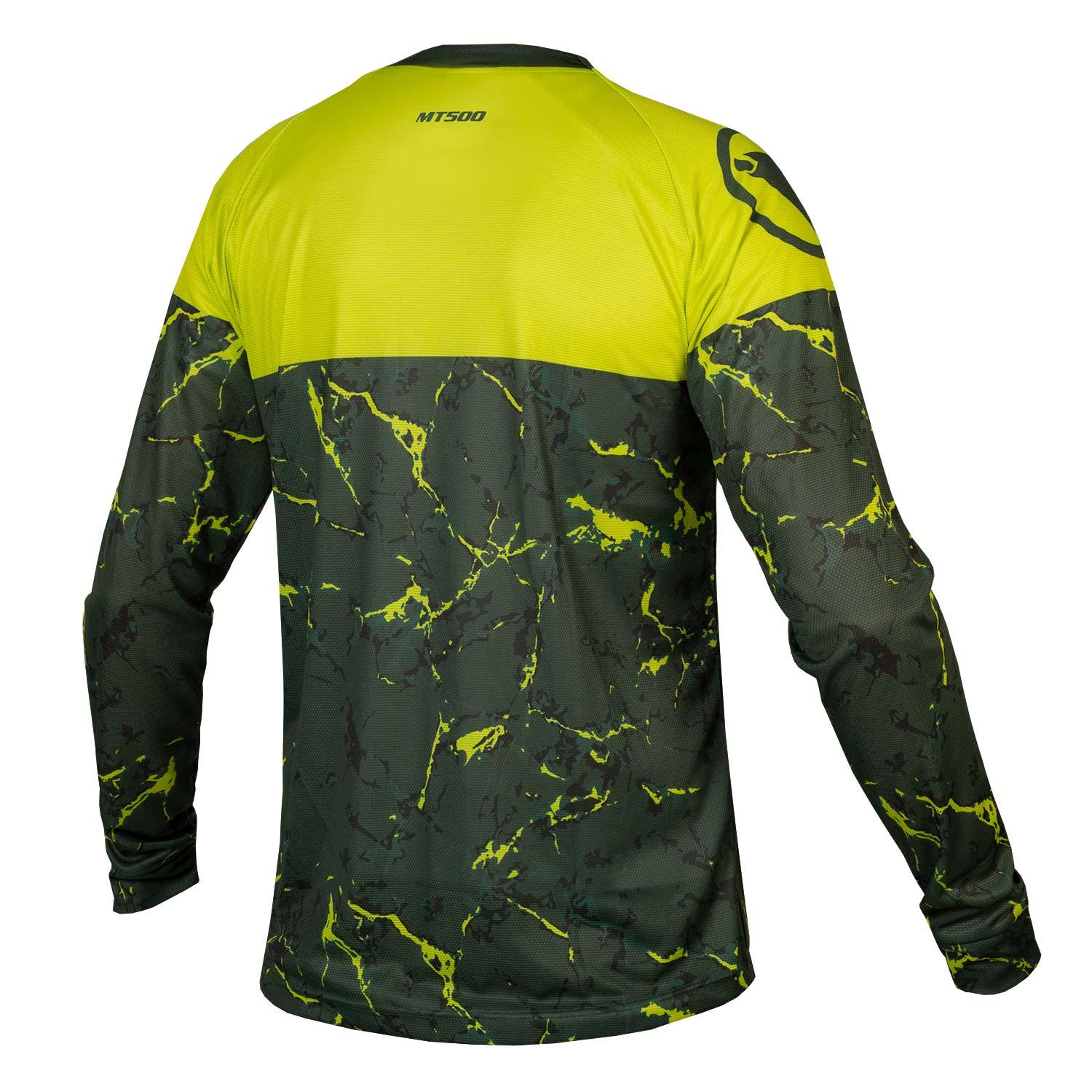 Endura Wielershirt MTB lange mouwen voor heren Limoen / MT500 Marble L/S T LTD Lime Green