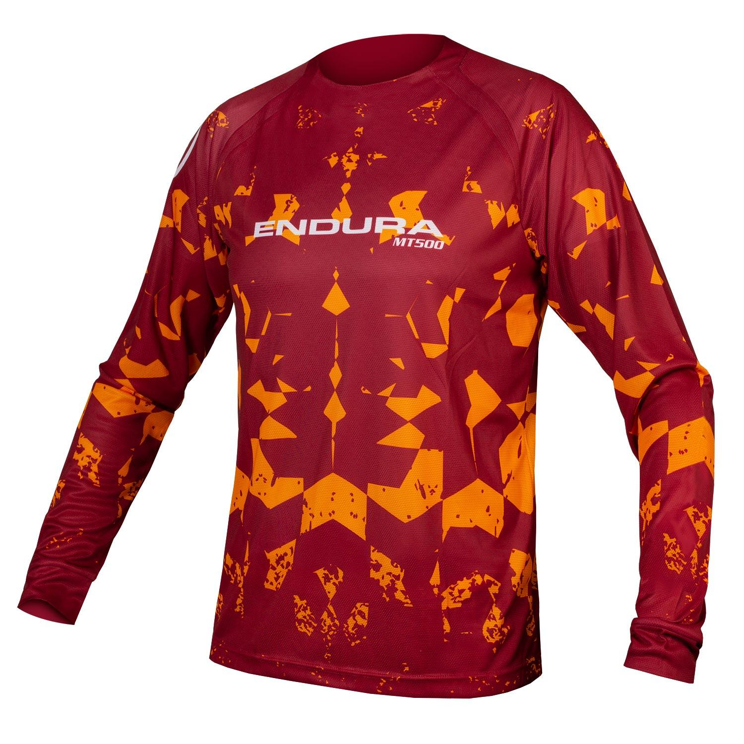 Endura Wielershirt MTB Lange Mouwen voor Heren Rood Oranje / MT500 Kali L/S T LTD Rust Red