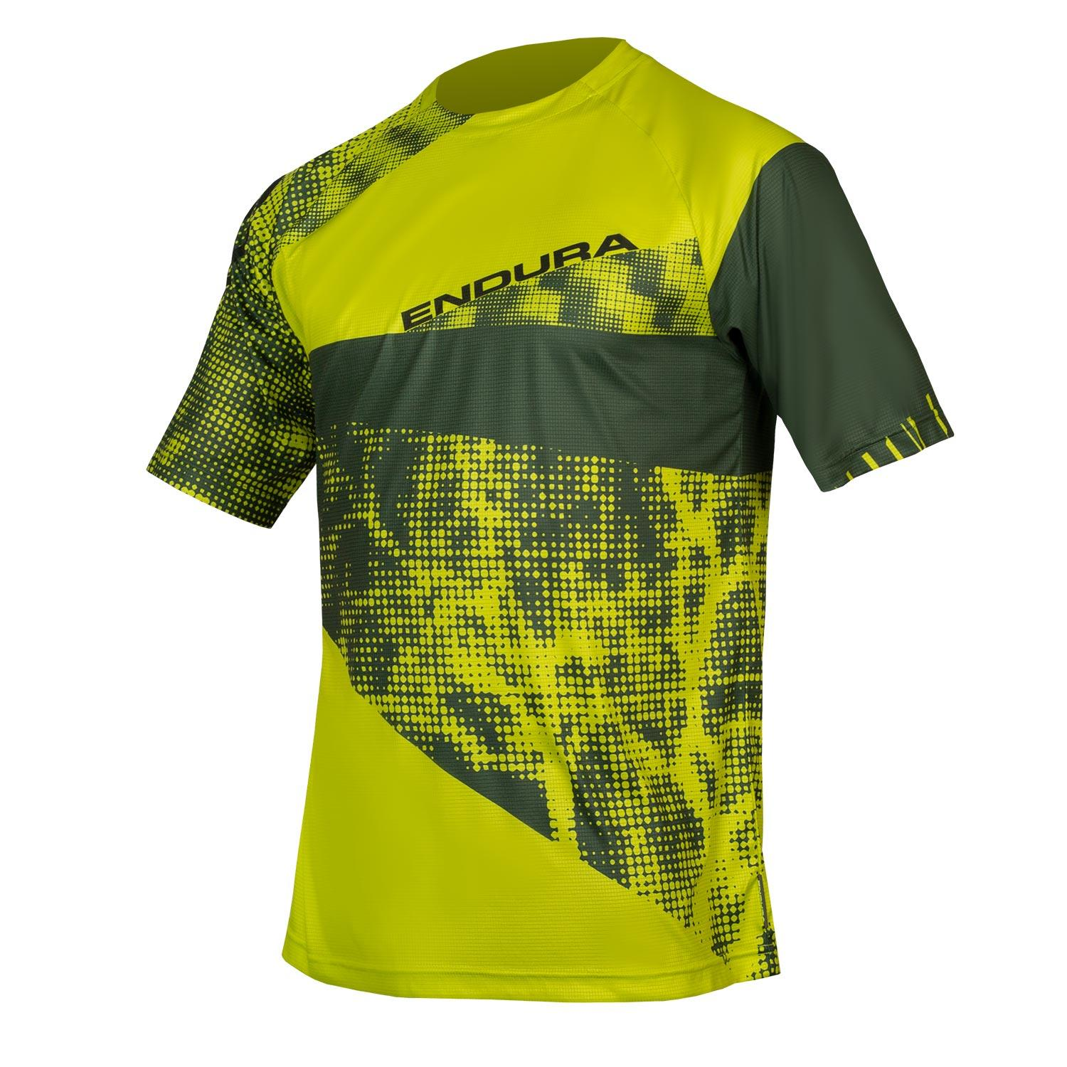 Endura Wielershirt MTB Korte Mouwen voor Heren Limoen Groen / Singletrack Dots T LTD Lime Green