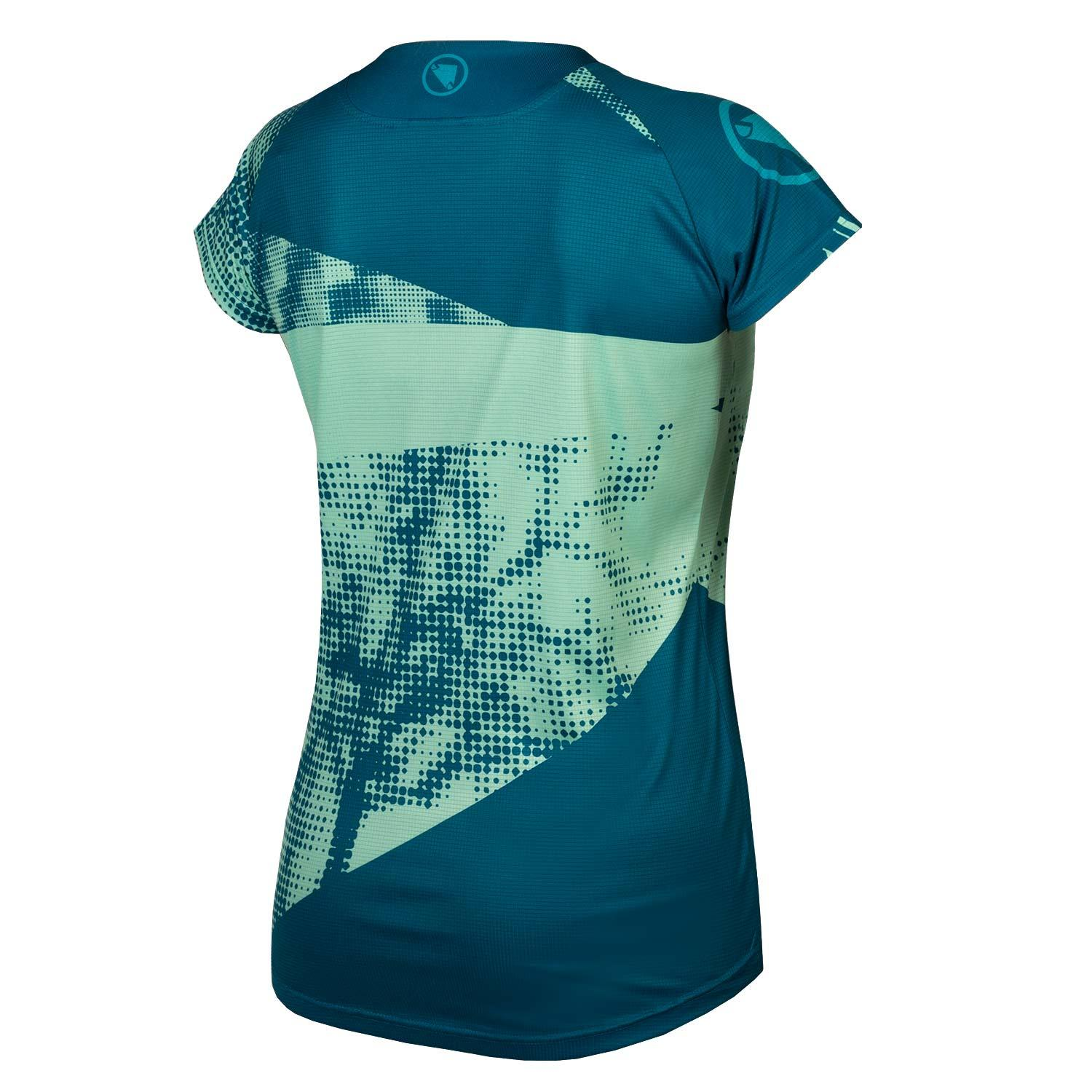 Endura Wielershirt MTB Korte Mouwen voor Dames Blauw / Women's Singletrack Dots T LTD Kingfisher