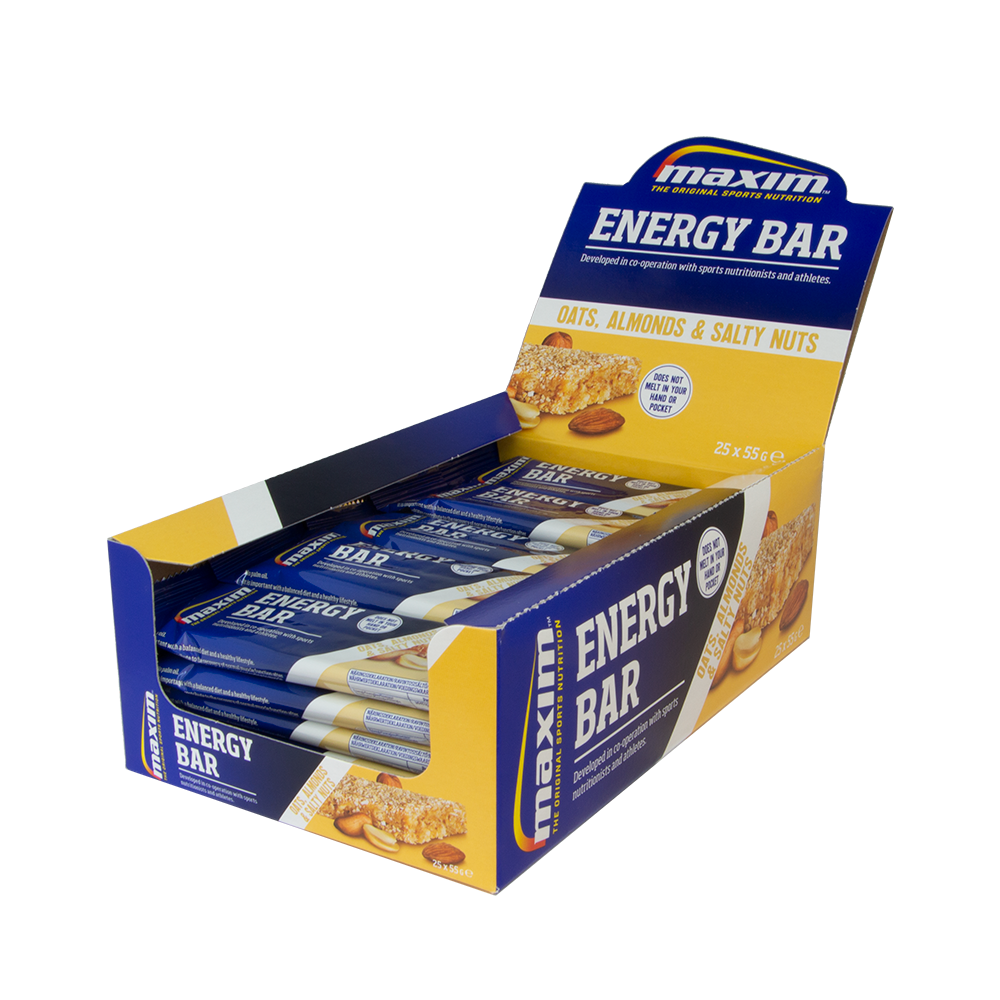 Afbeelding Maxim ENERGY BAR OATS, ALMONDS & SALTY NUTS  (25x55 gr.)  20 stuks + 5 gratis