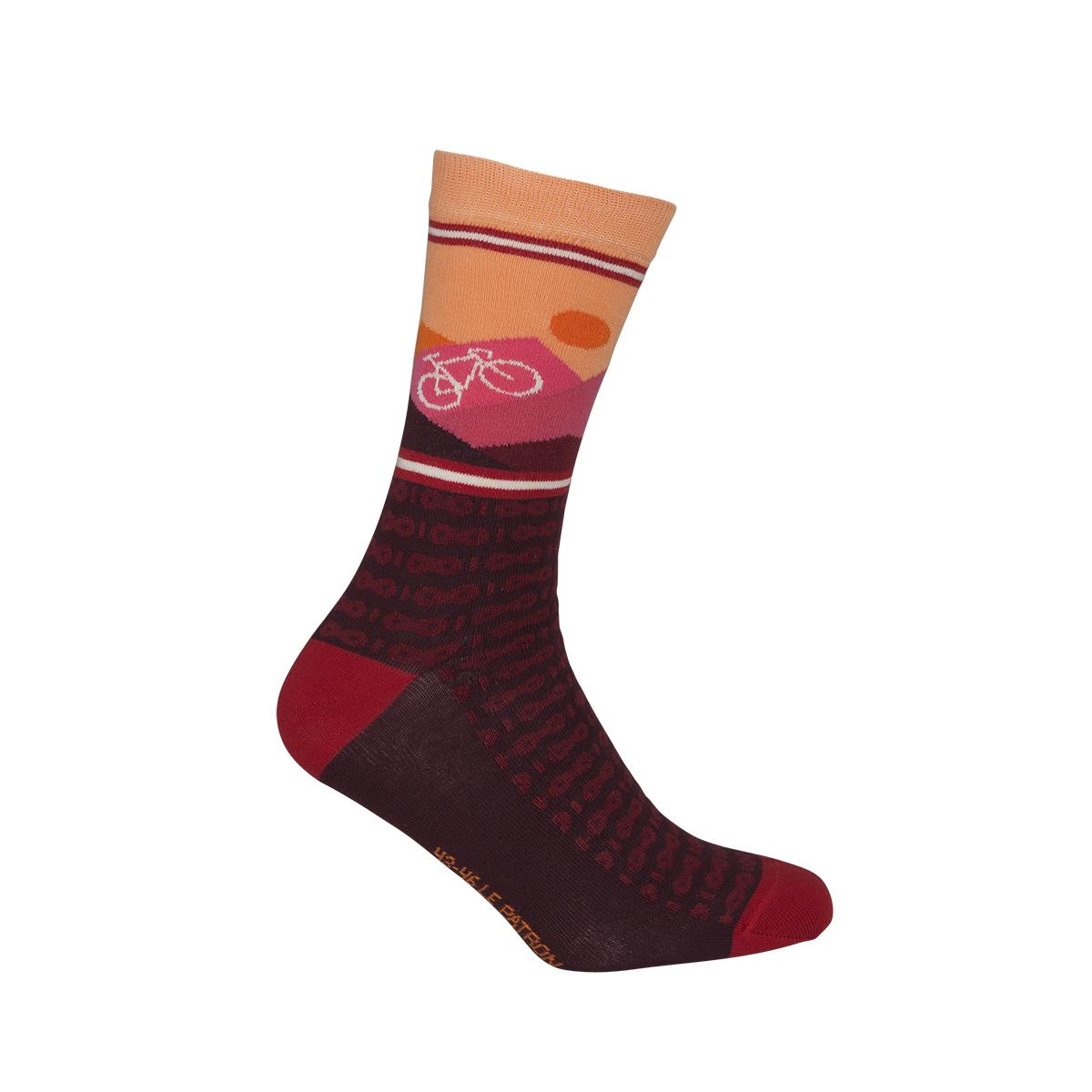 Le Patron Casual sokken Bordeaux Roze / mountain socks bordeaux