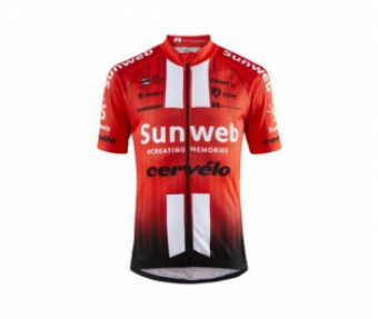 Craft Fietsshirt korte mouwen Kids Rood Wit / TEAM SUNWEB REPLICA SS JERSEY JR TEAM SUNWEB RED - 158