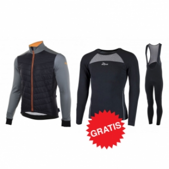 Rogelli winter fietskledingset Element Nero zwart oranje
